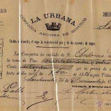 Documentos bancarios: LA URBANA. COMPAÑÍA ANÓNIMA DE SEGUROS. TIMBRE MÓVIL 1885. Lote 50317591
