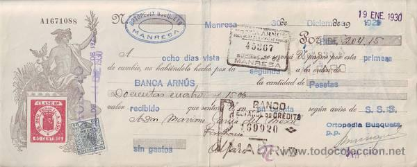 LETRA DE CAMBIO 1930. (Coleccionismo - Documentos - Documentos Bancarios)