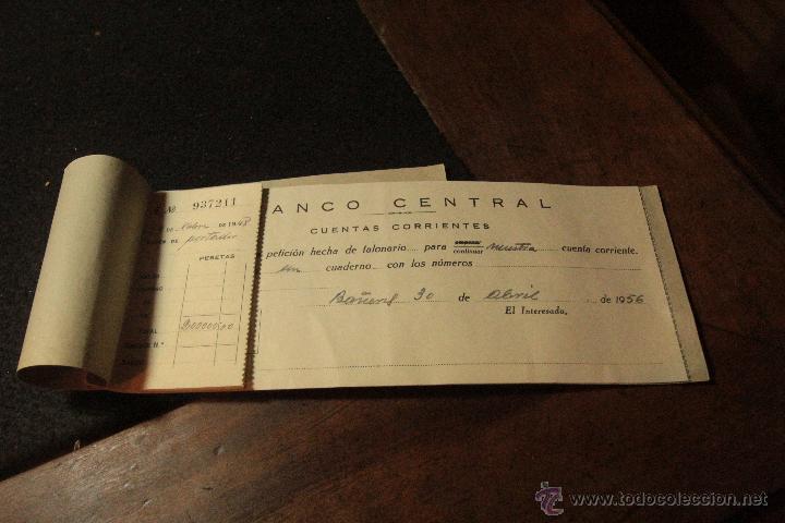 TALONARIO CHEQUES 1956, BANCO CENTRAL -DOCA- (Coleccionismo - Documentos - Documentos Bancarios)