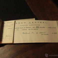 Documentos bancarios: TALONARIO CHEQUES 1956, BANCO CENTRAL -DOCA-. Lote 50707402