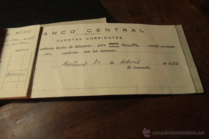 Documentos bancarios: TALONARIO CHEQUES 1956, BANCO CENTRAL -DOCA- - Foto 3 - 50707402