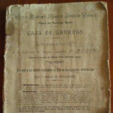 Documentos bancarios: 1930 CAJA DE AHORROS MONTE PIEDAD VALENCIA, LIBRETA INTERES 3%, SUPLEMENTO A LA QUE SE ABRIO EN 1906. Lote 50796904