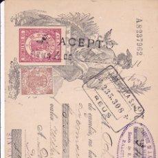 Documentos bancarios: TALON NICOLAS MESTRES DE REUS 1911 CON SELLO BCO. JUAN VILELLA REUS. Lote 51143346