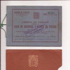Documentos bancarios: FUNDA Y LIBRETA DE CRÉDITO CAJA DE AHORROS Y MONTE DE PIEDAD / 1958. Lote 51239155