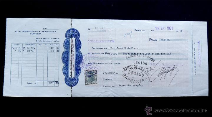 LETRA DE CAMBIO 1930 / FARMACEUTICA ARAGONESA - ZARAGOZA / LIBRADA A BARBASTRO / HUESCA (Coleccionismo - Documentos - Documentos Bancarios)