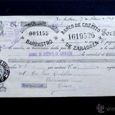 Documentos bancarios: LETRA DE CAMBIO 1929 / SOCIEDAD ARAGONESA FARMACEUTICA - ZARAGOZA / BANCO DE CREDITO DE ZARAGOZA /. Lote 51245416