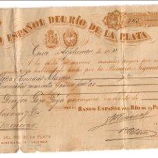 Documentos bancarios: BANCO ESPAÑOL DEL RIO DE LA PLATA. VALENCIA. Lote 51464713