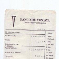 Documentos bancarios: RESGUARDO DE CAMBIO DE MONEDA - BANCO VIZCAYA - AÑOS 70. Lote 51477825