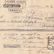 Documentos bancarios: LETRA DE CAMBIO LIBRADA POR JOAQUIN ARIMON DE SABADELL AÑO 1936 . Lote 63504322