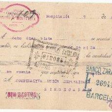 Documentos bancarios: LETRA DE CAMBIO LIBRADA POR VINOS CASTRO Y MUNTAÑOLA DE L'HOSPITALET DE LLOBREGAT --AÑO 1936---. Lote 51926823
