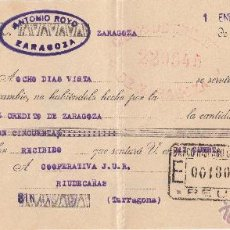 Documentos bancarios: LETRA DE CAMBIO LIBRADA PO ANTONIO ROYO DE ZARAGOZA ---AÑO 1936---- . Lote 51976236