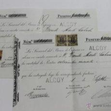 Documentos bancarios: 2 DOCUMENTOS SUCURSAL BANCO DE ESPAÑA EN ALCOY, 1900, CON SELLOS FISCALES. Lote 52442484