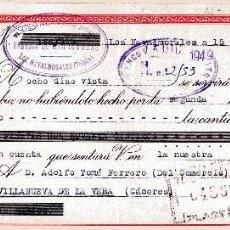 Documenti bancari: LOS NAVALMORALES. TOLEDO. R DE TALAVERA. FAB. HERRADURAS LETRA DE CAMBIO CLASE 8. 15-12-1949. Lote 52787949