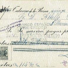 Documentos bancarios: TALAVERA DE LA REINA. CHEQUE DE LUCAS PRIETO DE 15-7-1930; CARGO A ADOLFO TOME Y MEDIACION BANCARIA. Lote 52849285