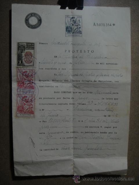 PROTESTO NOTARIAL DE LETRA DE CAMBIO - - BARCELONA 1942 (Coleccionismo - Documentos - Documentos Bancarios)