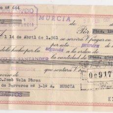 Documentos bancarios: LETRA DE CAMBIO EMITIDA Y PAGADERA EN MURCIA. DD. 23-2-1961. Lote 52898409