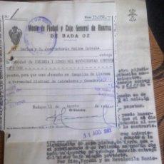 Documentos bancarios: MONTE DE PIEDAD Y CAJA GENERAL DE AHORROS - BADAJOZ -. Lote 53259234