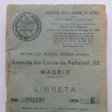 Documentos bancarios: LIBRETA PARA PENSIONES VITALICIAS ,LOS PREVISORES DEL PORVENIR, AHORRO DESDE 1928 HASTA 1947. Lote 53578079