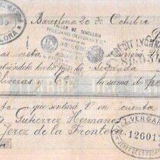 Documentos bancarios: LETRA 1900. GUTIERREZ HERMANOS, BARCELONA. DIEZ VERGARA Y Cª. JEREZ.. Lote 53629725