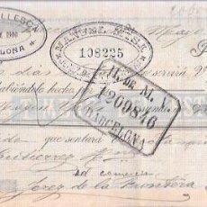 Documentos bancarios: LETRA. AÑO 1900. FELIX BALLESCA, BARCELONA. H. DE M. V. BARCELONA.. Lote 53630503