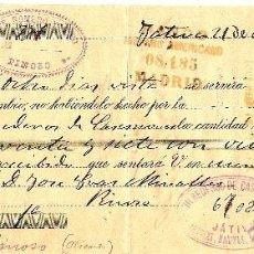 Documentos bancarios: LETRA DE CAMBIO GIRO 25 CÉNTIMOS CLASE 15 - AÑO 1901 - JÁTIVA, PINOSO - TIMBRE MÓVIL 10 CT.. Lote 53676281
