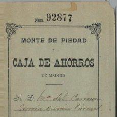 Documentos bancarios: LIBRETA DE LA CAJA DE AHORROS DE MADRID DEL 4 DE JULIO DE 1915. Lote 53712733