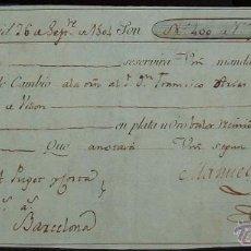 Documentos bancarios: LETRA DE CAMBIO: EXPEDIDA EN MADRID Y ABONADA EN BARCELONA (1804). Lote 53779952