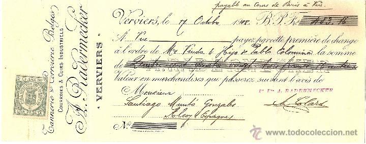 LETRA DE CAMBIO DE A. RADERMECKER (FRANCIA) A VDA.E HIJO PABLO COLOMINA DE ALCOY (ALICANTE) AÑO 1908 (Coleccionismo - Documentos - Documentos Bancarios)