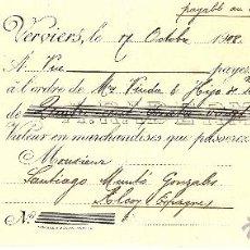 Documentos bancarios: LETRA DE CAMBIO DE A. RADERMECKER (FRANCIA) A VDA.E HIJO PABLO COLOMINA DE ALCOY (ALICANTE) AÑO 1908. Lote 53988531