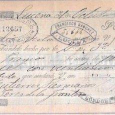 Documentos bancarios: LETRA AÑO 1900. FRANCISCO SANCHEZ, LUCENA.. Lote 54049832