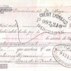 Documentos bancarios: LETRA, AÑO 1898. FUNDICION TIPOGRAFICA, BARCELONA.. Lote 54052389