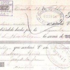 Documentos bancarios: LETRA, AÑO 1898. PLÁCIDO LOPEZ, FABRICANTE DE SEDAS. SEVILLA.. Lote 54052646