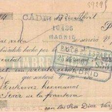 Documentos bancarios: LETRA, AÑO 1900. LUIS DE LA TORRE, CADIZ.. Lote 54089252