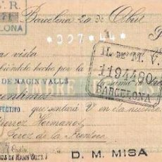 Documentos bancarios: LETRA, AÑO 1900. H.J.V.R. BARCELONA. H. DE M. V., BARCELONA.. Lote 54089256