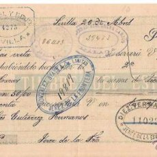 Documentos bancarios: LETRA, AÑO 1900. HORTAL Y ROJO, SEVILLA. SOCIEDAD AZUCARERA LARIO, MALAGA.. Lote 54102017