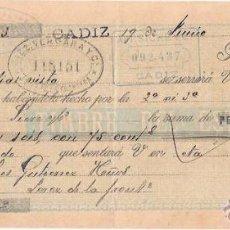 Documentos bancarios: LETRA, AÑO 1900. ANTONIO SICRE Y Cª. CADIZ. DIEZ VERGAR Y Cª, JEREZ.. Lote 54103586