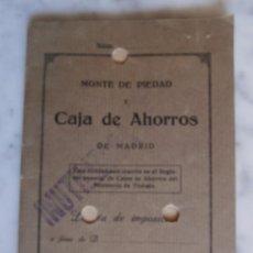 Documentos bancarios: LIBRETA MONTE DE PIEDAD Y CAJA DE AHORROS DE MADRID INUTILIZADA. Lote 54184681