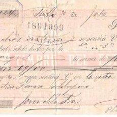 Documentos bancarios: LETRA CON SELLO IMPUESTO DE GUERRA. 1898. VILLALBA, BERMEJO Y Cª, SEVILLA. Lote 54315816