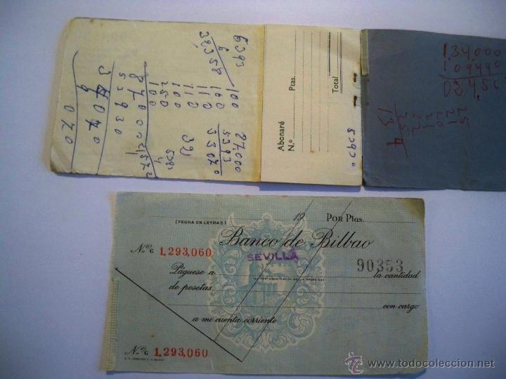 Documentos bancarios: TALONARIO CHEQUES BANCO DE BILBAO - AÑOS 60 - Foto 2 - 54472531