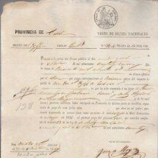 Documentos bancarios: PAGARÉ.TESORO PÚBLICO.PROVINCIA DE CÁDIZ.VENTA DE BIENES NACIONALES.SELLO FISCAL.. Lote 54954077