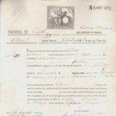 Documentos bancarios: PAGARÉ.TESORO PÚBLICO.PROVINCIA DE CÁDIZ.VENTA DE BIENES NACIONALES.SELLO FISCAL.. Lote 54954585