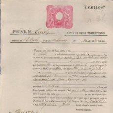 Documentos bancarios: PAGARÉ.TESORO PÚBLICO.PROVINCIA DE CÁDIZ.VENTA DE BIENES NACIONALES.SELLO FISCAL.. Lote 54954923