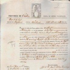 Documentos bancarios: PAGARÉ.TESORO PÚBLICO.PROVINCIA DE CÁDIZ.VENTA DE BIENES NACIONALES.SELLO FISCAL.. Lote 54955777