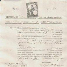 Documentos bancarios: PAGARÉ.TESORO PÚBLICO.PROVINCIA DE CÁDIZ.VENTA DE BIENES NACIONALES.SELLO FISCAL.. Lote 54968180