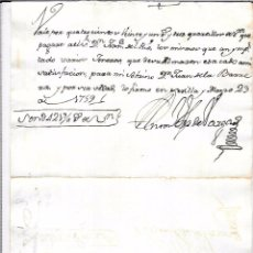 Documentos bancarios: PAGARÉ, AÑO1759. 421 REALES DE VELLON.. Lote 55820572