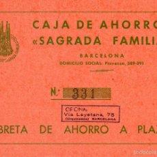 Documentos bancarios: LIBRETA AHORRO CAJA AHORROS SAGRADA FAMILIA CAIXA ESTALVIS AHORROS ESTALVIS BARCELONA BANCA BANCO. Lote 55892478