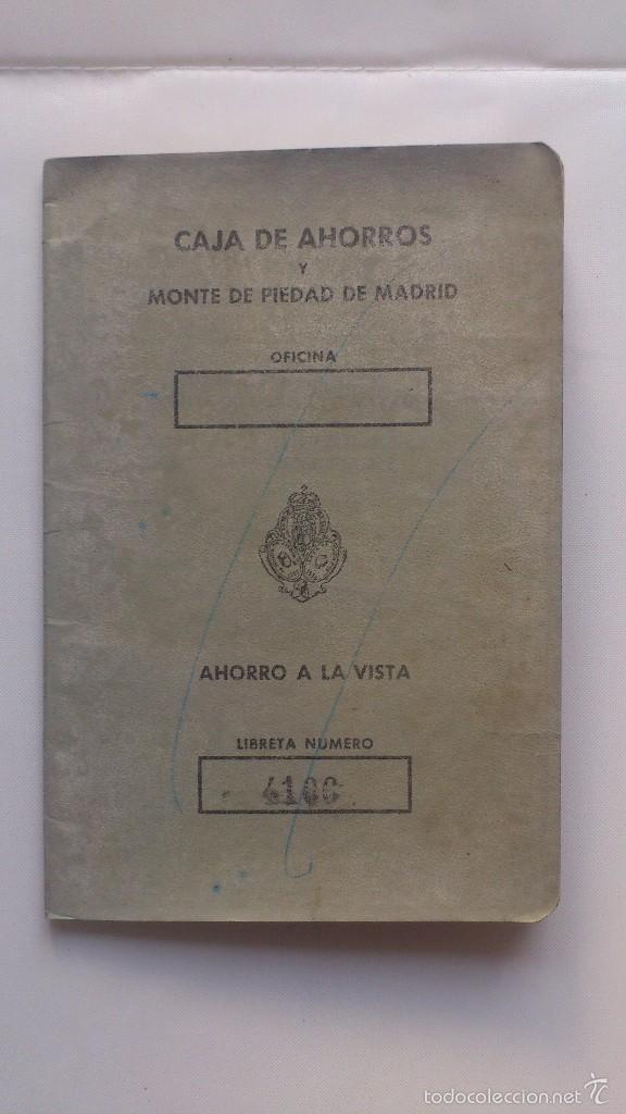 LIBRETA CAJA DE AHORROS Y MONTE DE PIEDAD DE MADRID, AÑO 1977 (Coleccionismo - Documentos - Documentos Bancarios)