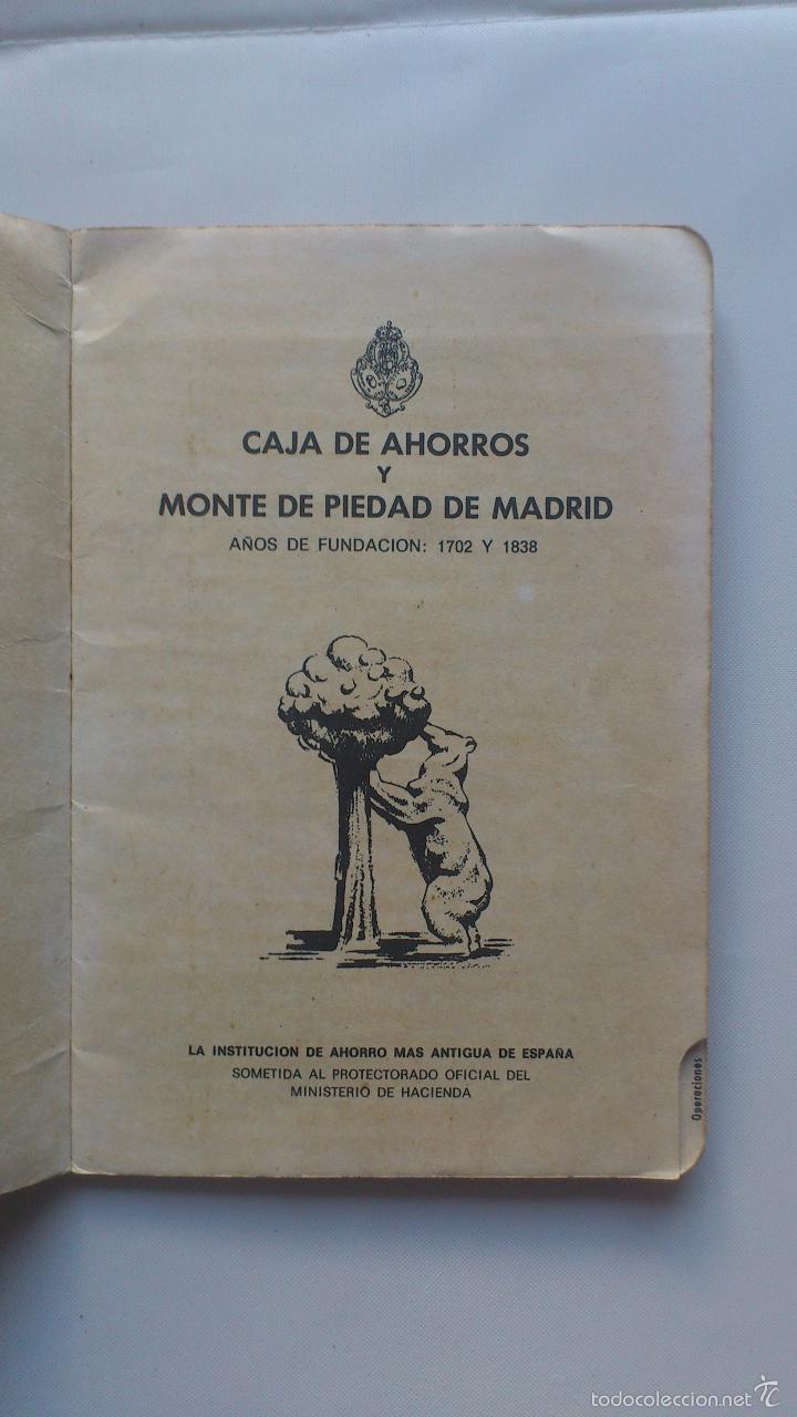 Documentos bancarios: LIBRETA CAJA DE AHORROS Y MONTE DE PIEDAD DE MADRID, AÑO 1977 - Foto 2 - 56205203
