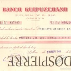 Documentos bancarios: ABONARÉ, BANCO GUIPUZCOANO, BILBAO, 1946. Lote 56255173