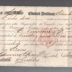 Documentos bancarios: LETRA DE CAMBIO. COMPAÑIA MINERA EL CALLAO. CIUDAD BOLIVAR, VENEZUELA. 1891. Lote 56472005
